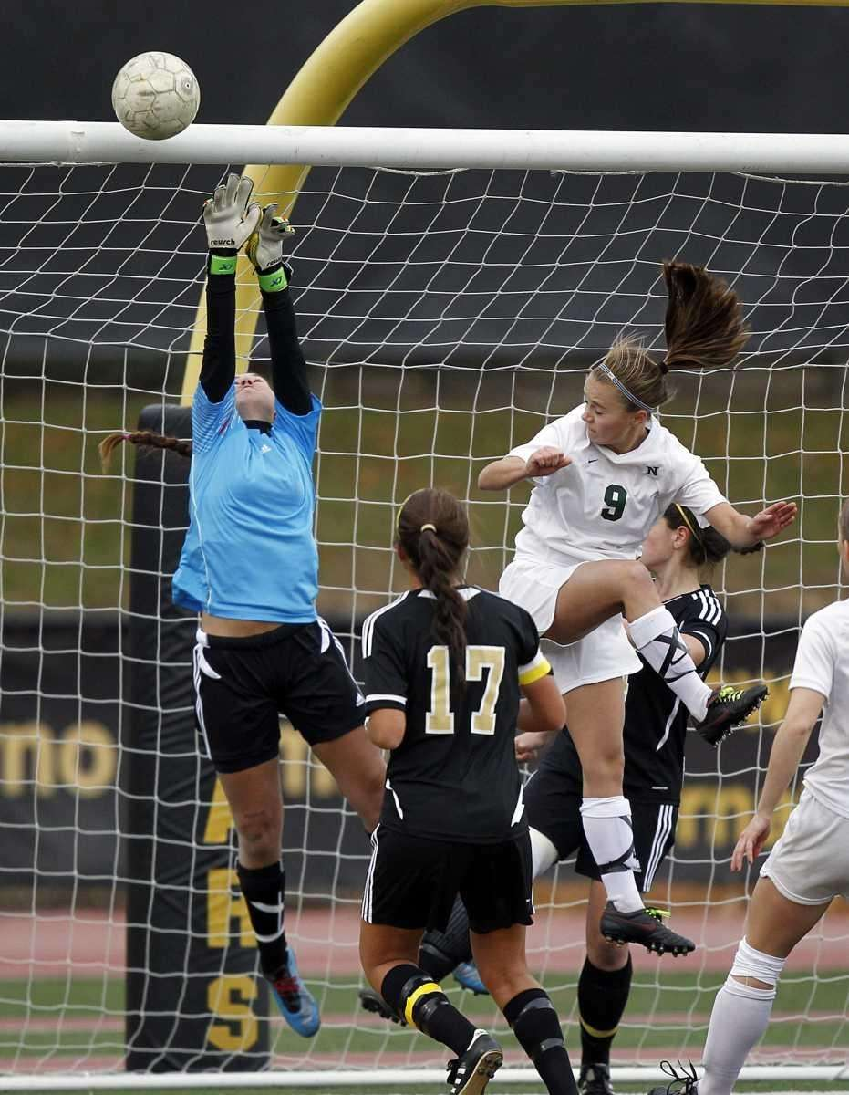 St. Anthony's keeper Jensen Weidmer with the save