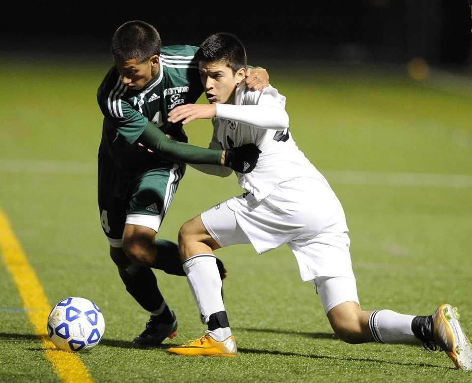 Brentwood's Noe Flores is called for a foul