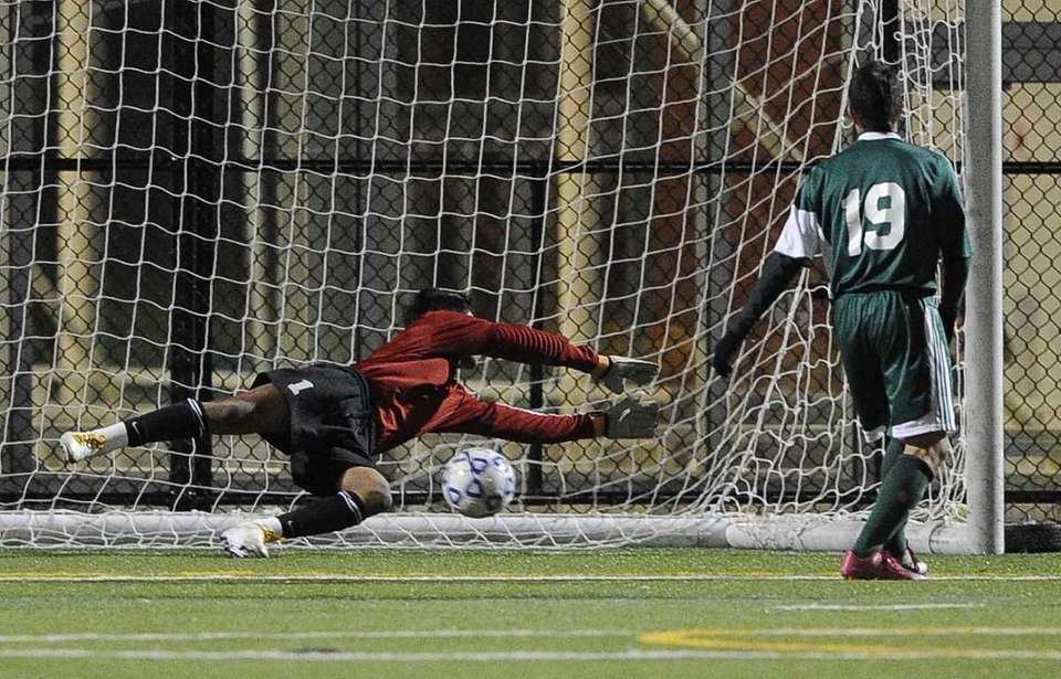 Brentwood goalkeeper Raul Bonilla can't save the goal