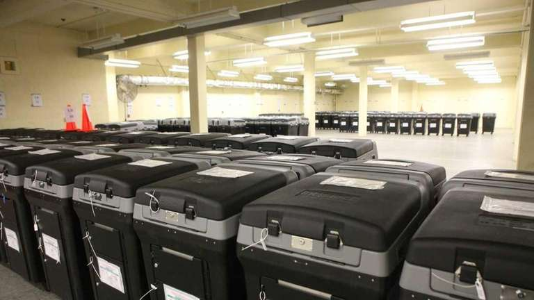 Voting machines are organized by the Nassau County