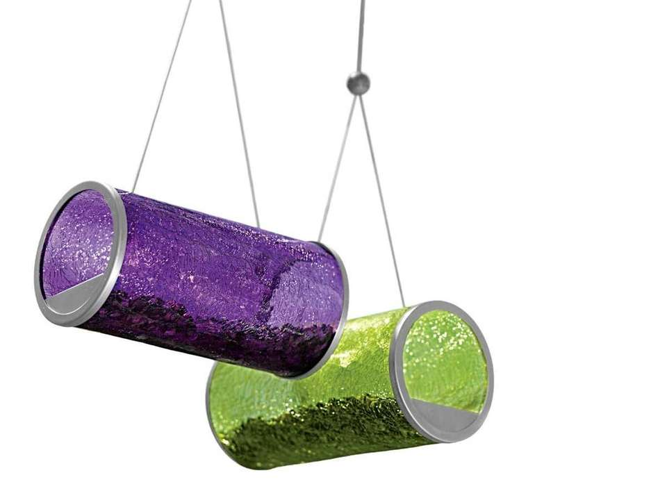 For the birds Art deco crackle-glass bird feeders,