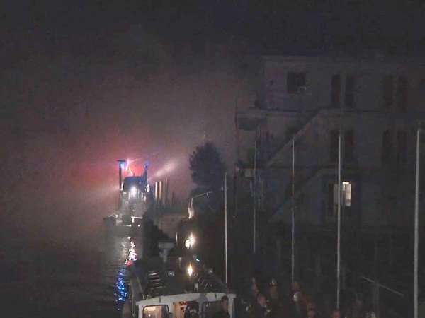 Firefighters from several departments battle a blaze in