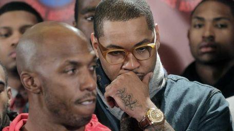 NBA players, including New York Knicks Carmelo Anthony,