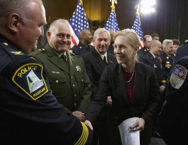 Sen. Kirsten Gillibrand (D-N.Y.) greets first responders as