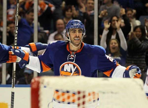 Matt Moulson of the New York Islanders celebrates