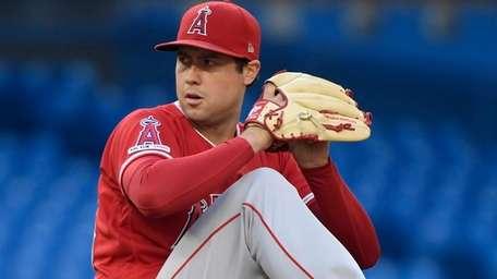 Angels starting pitcher Tyler Skaggs winds up during