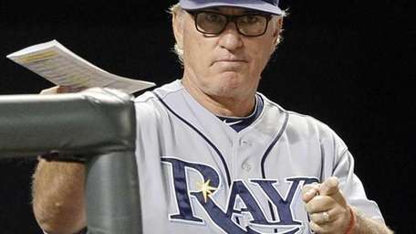 Tampa Bay Rays manager Joe Maddon gestures to