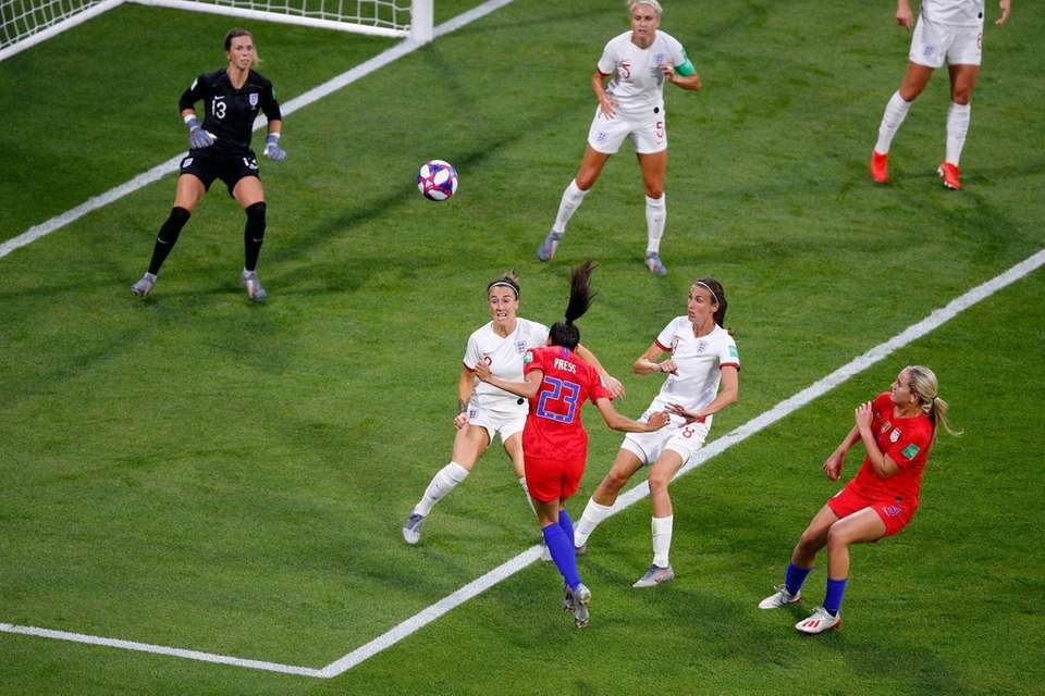 The United States' Christen Press scores the opening