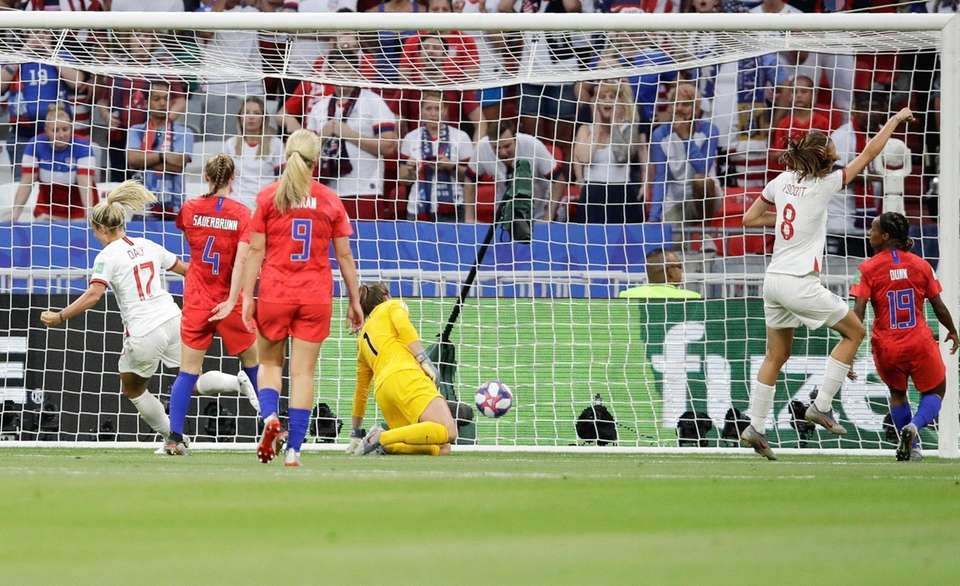 United States goalkeeper Alyssa Naeher fails to stop