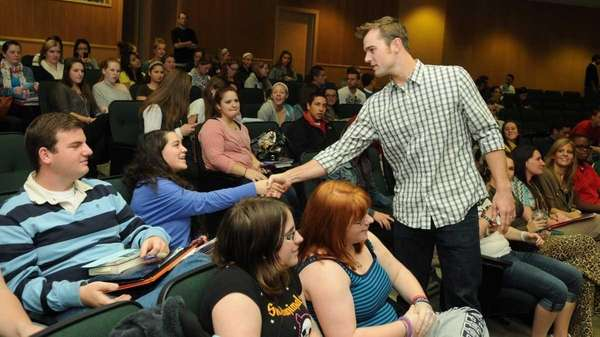 New York Yankees pitcher, David Robertson, shakes hands