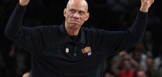 Former NBA player Kareem Abdul Jabbar gestures to