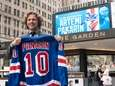 Newly signed Rangers forward Artemi Panarin poses for