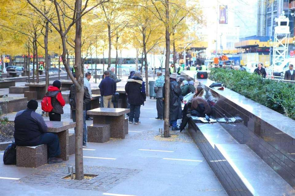Zuccotti Park is quiet as only a few