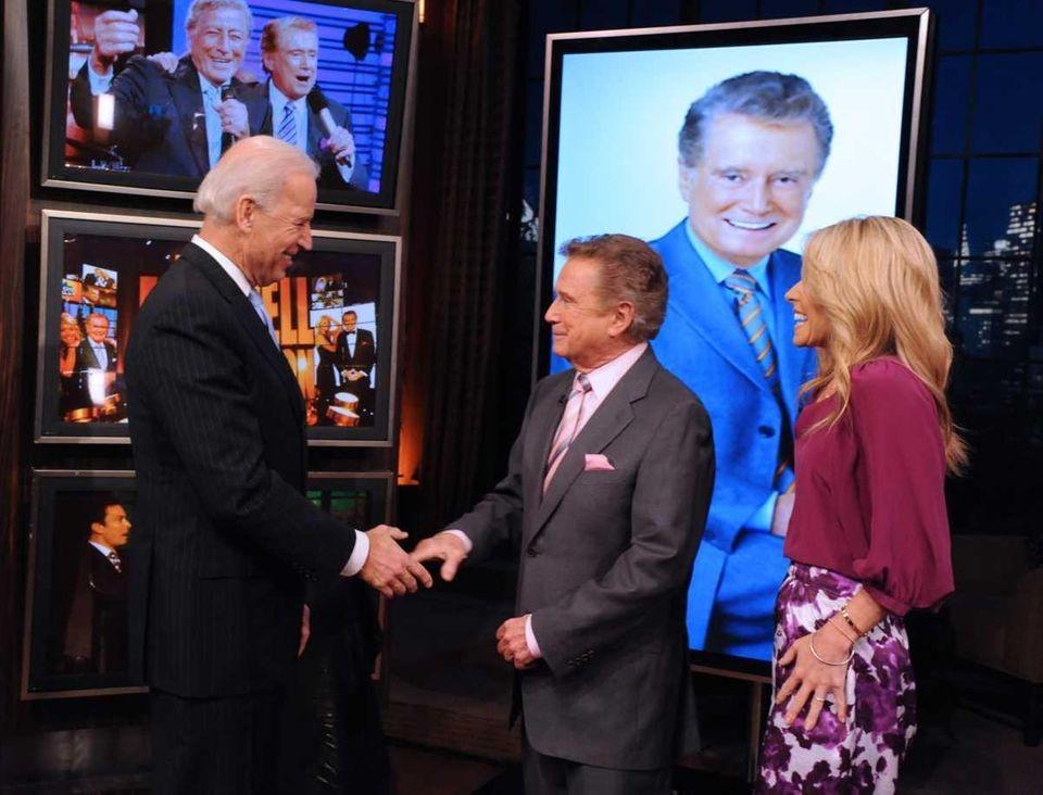 Vice President Joe Biden greets Regis Philbin and