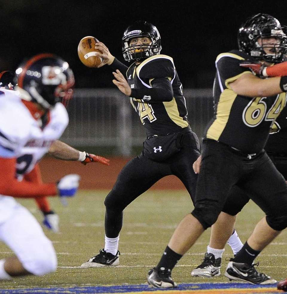 St. Anthony's quarterback Greg Galligan looks for an