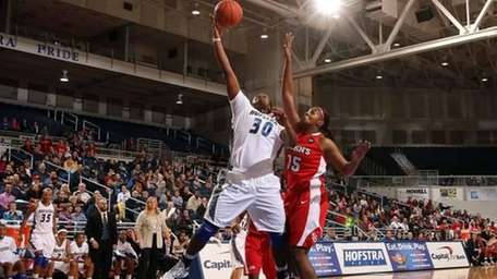 Shante Evans goes up for two points against