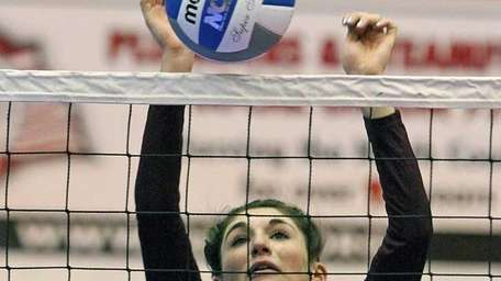 Kings Park's Joelle Goldstein looks for the block