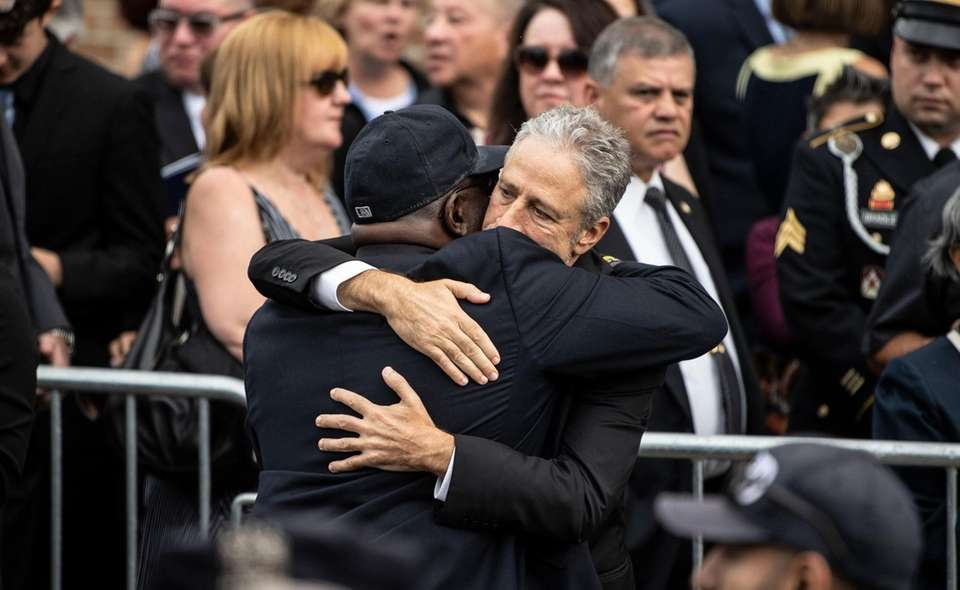 Jon Stewart during today's funeral services for of