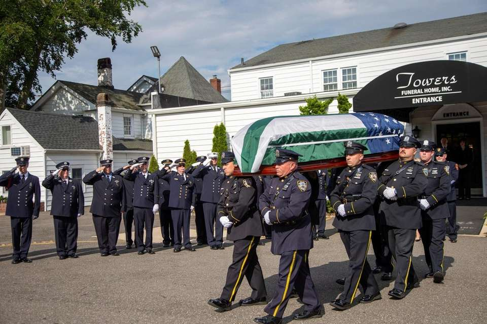 The casket for Luis Alvarez, the NYPD detective