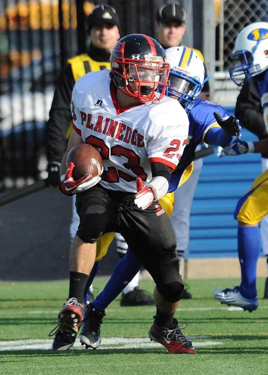 Plainedge's Gianfranco Sorient carries during first half action
