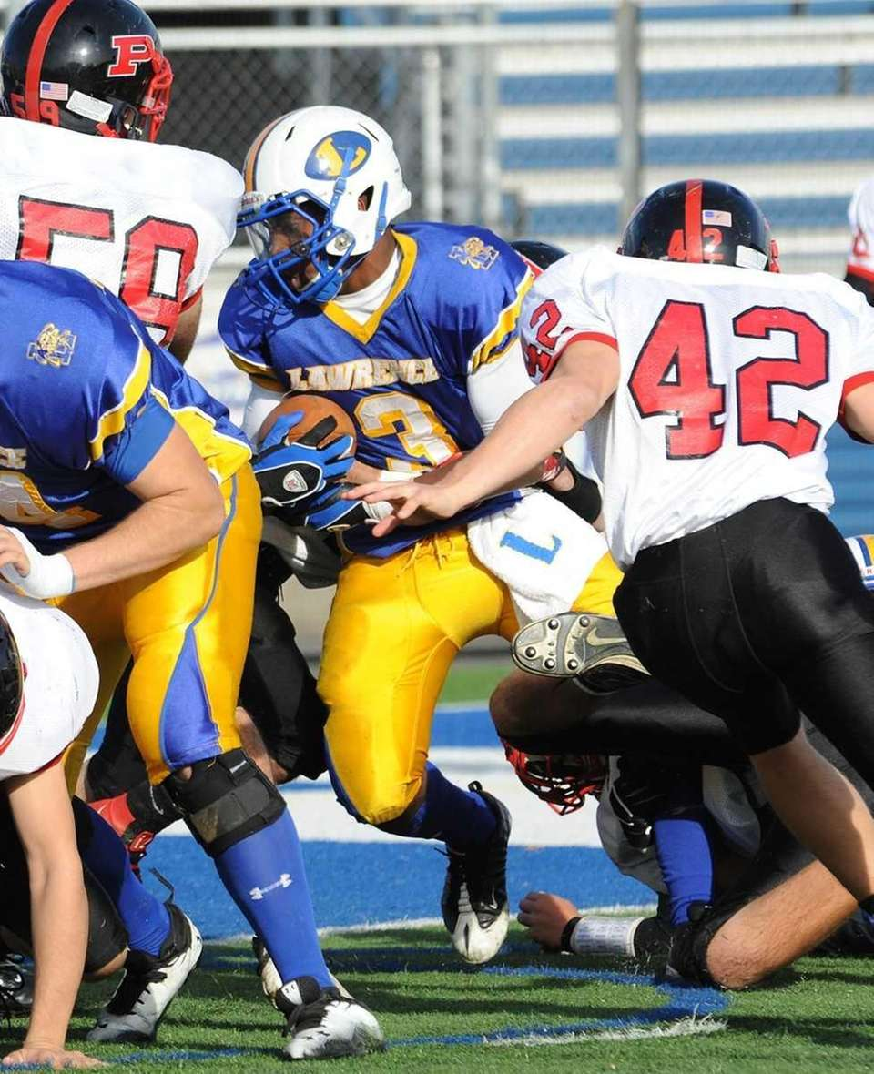 Lawrence's #3 Tyler Fredericks, center, rushes during first