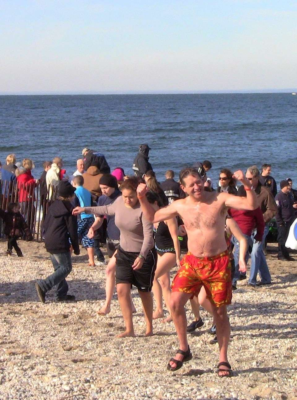 Plungers head out of the water after jumping