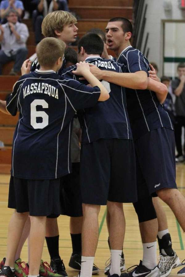 Massapequa's players huddle against Bethlehem. (Nov. 19, 2011)