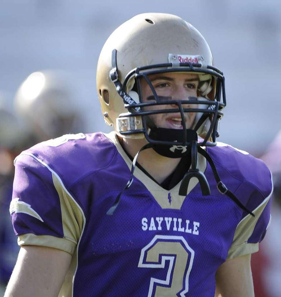 Sayville's James Rupp reacts before the game against