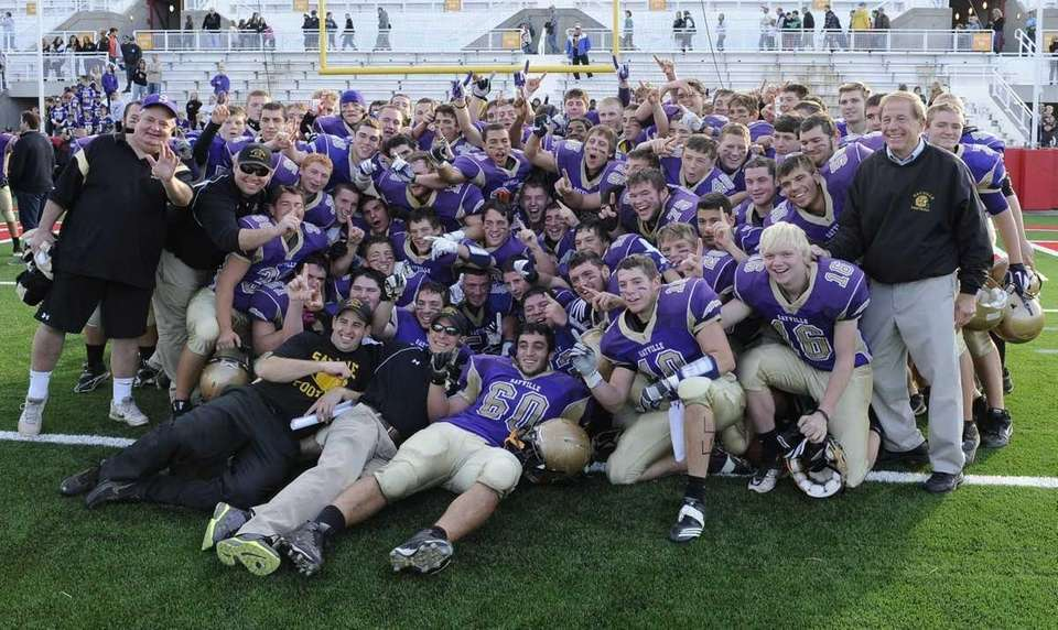 Sayville celebrates after their 28-6 win over Westhampton