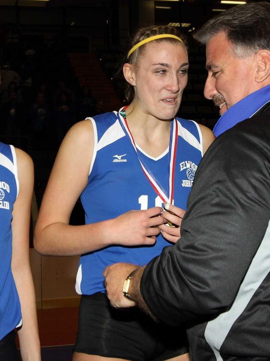 Glenn's Melissa Rigo gets her medal after the