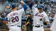 Jeff McNeil #6 of the Mets celebrates his