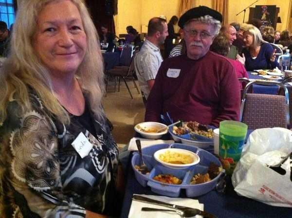 Linda and Gene McParland, of Lindenhurst, eat a