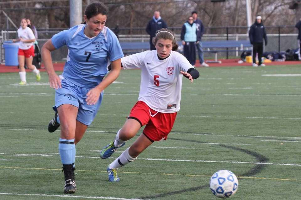 South Side's Samantha Ford drives the ball past