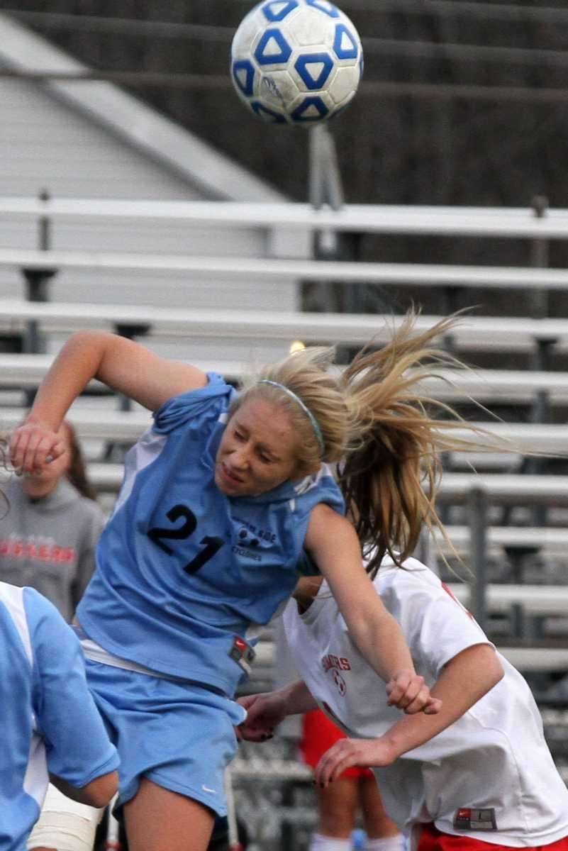 South Side's Christiana Klaum heads the ball during