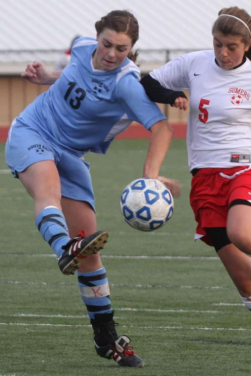 South Side's Kelsey Ford drives the ball past