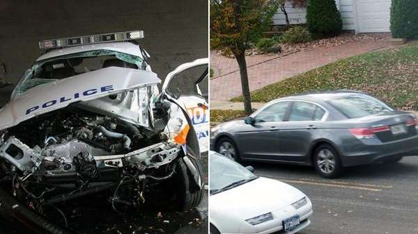 Police said the car on the right was
