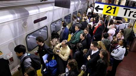 Long Island Rail Road passengers at Penn Station