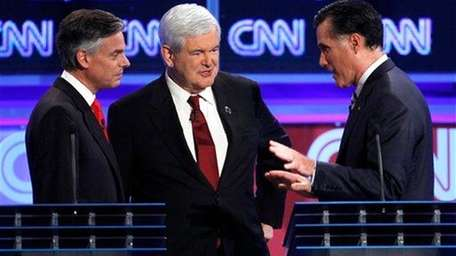 From left, Republican presidential candidates, former Utah Gov.