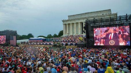 President Donald Trump speaks on July 4 in