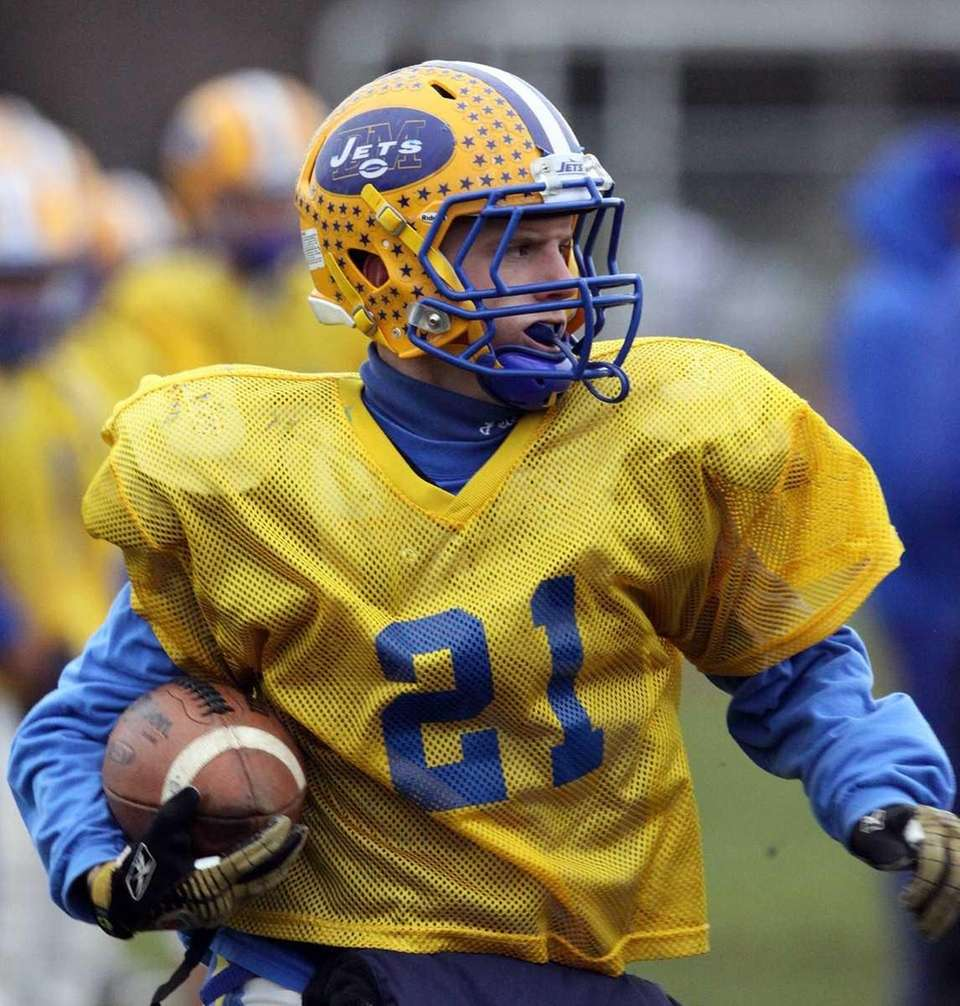 East Meadow running back Robbie Healy at practice.
