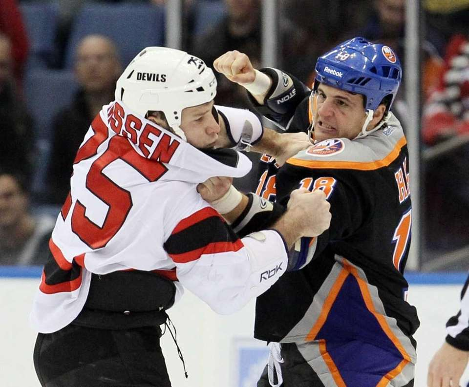 Cam Janssen #25 of the New Jersey Devils