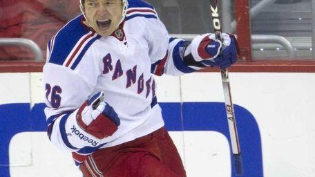Rangers left winger Ruslan Fedotenko celebrates his second-period