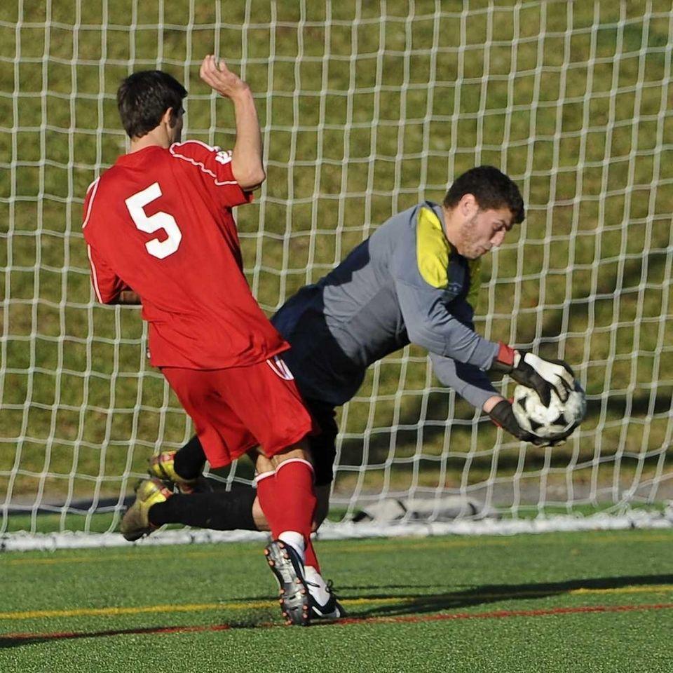 Nassau Blue-1 goalkeeper Matan Grossmann of Herricks saves