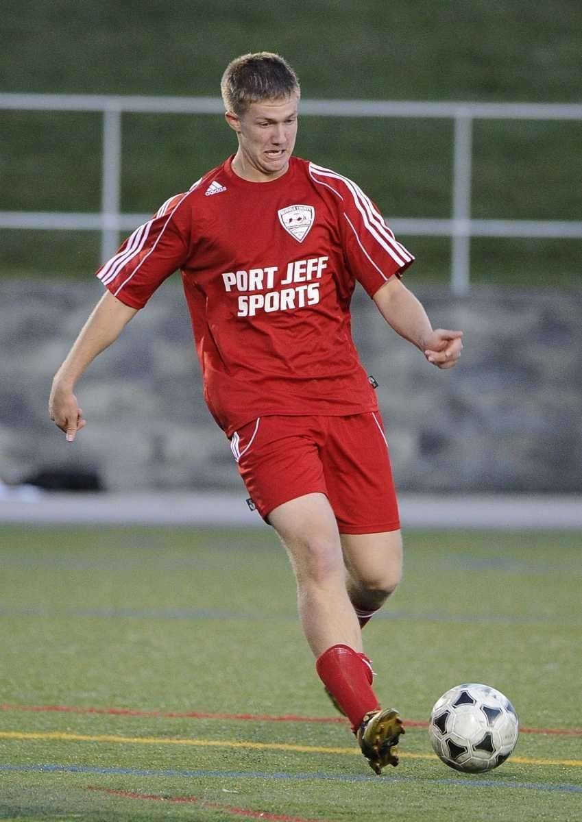 Sam Durkot of Newfield controls the ball against