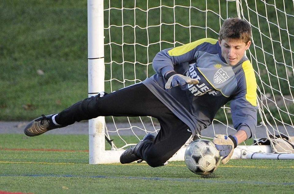 Nassau Blue-2 goalkeeper Eli Ruosso of Friends Academy