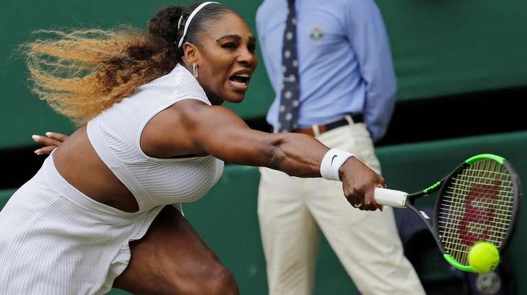 Serena Williams returns to Germany's Julia Goerges in