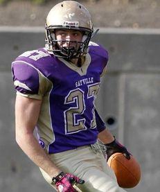 Sayville's John Haggart (27) completes a touchdown run