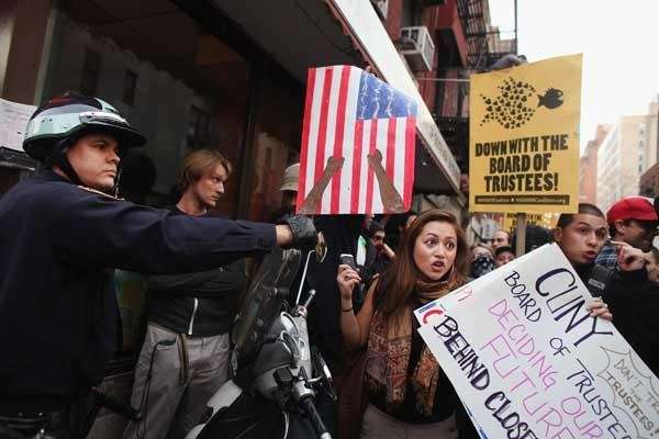 Protesters march near Baruch College to protest against