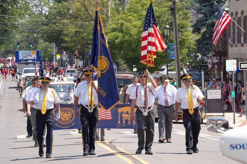 American Legion veterans from Post 803 walk in