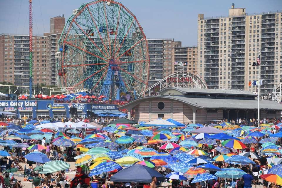 Coney Island beach was very crowded on the